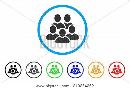 Men Collective rounded icon. Style is a flat grey symbol inside light blue circle with additional colored versions. Men Collective vector designed for web and software interfaces.