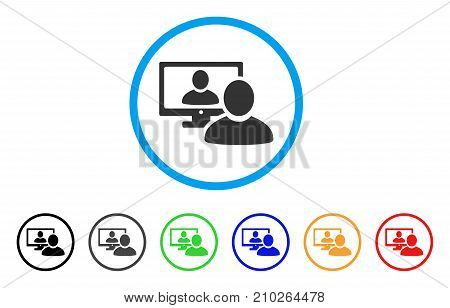 Online Video Chat rounded icon. Style is a flat gray symbol inside light blue circle with additional colored variants. Online Video Chat vector designed for web and software interfaces.