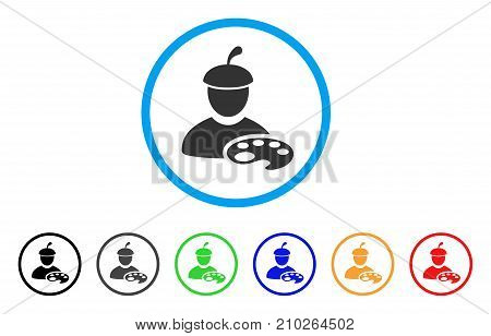 Painter With Palette rounded icon. Style is a flat grey symbol inside light blue circle with additional colored versions. Painter With Palette vector designed for web and software interfaces.
