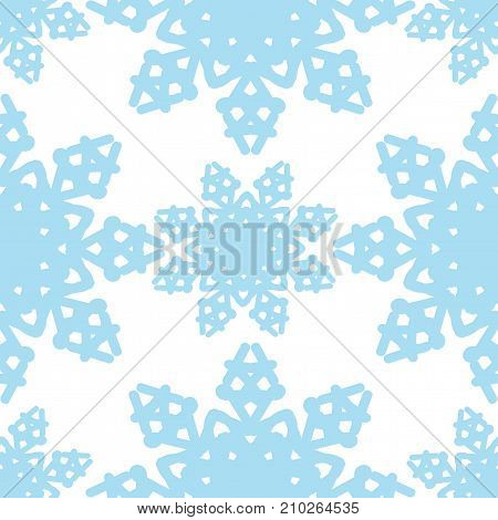 Seamless pattern with snowflake on the white background. Vector winter background or  wrapping paper and other design.