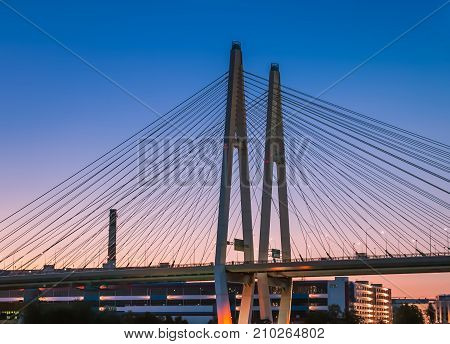 Cable-stayed bridge in St. Petersburg at sunset of the day