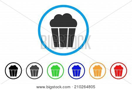 Popcorn Bucket rounded icon. Style is a flat gray symbol inside light blue circle with additional colored variants. Popcorn Bucket vector designed for web and software interfaces.