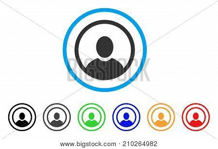 Rounded User Portrait rounded icon. Style is a flat gray symbol inside light blue circle with bonus color variants. Rounded User Portrait vector designed for web and software interfaces.