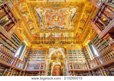 Coimbra, Portugal - August 14, 2017: University library in Coimbra, the Europe's oldest university founded in 1290. Unesco World Heritage Site and most important tourist attraction in Coimbra.