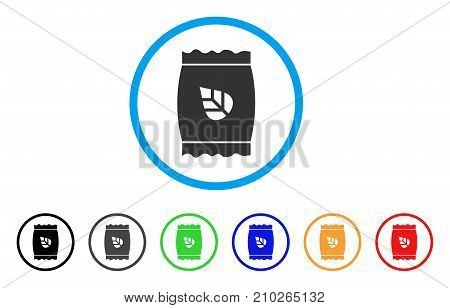 Seed Pack rounded icon. Style is a flat grey symbol inside light blue circle with additional color versions. Seed Pack vector designed for web and software interfaces.