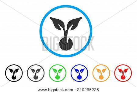 Seed Sprout rounded icon. Style is a flat gray symbol inside light blue circle with additional color versions. Seed Sprout vector designed for web and software interfaces.