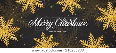 Merry Christmas and Happy New Year lettering. Creative panoramic background for night party. Handwritten text, calligraphy. Can be used for greeting cards, posters and leaflets