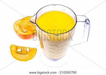 Preparation and mixing of pumpkin puree. Studio Photo