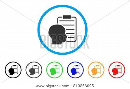 User Report Page rounded icon. Style is a flat grey symbol inside light blue circle with additional colored versions. User Report Page vector designed for web and software interfaces.