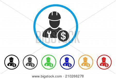 Worker Salary rounded icon. Style is a flat gray symbol inside light blue circle with additional colored versions. Worker Salary vector designed for web and software interfaces.