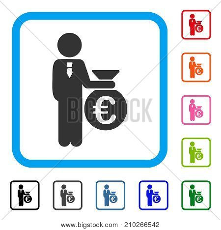 Euro Banker icon. Flat grey pictogram symbol in a light blue rounded rectangle. Black, gray, green, blue, red, orange color additional versions of Euro Banker vector. poster