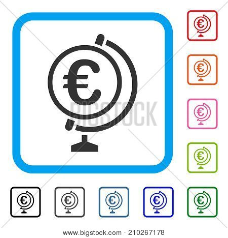 Euro Globe icon. Flat grey iconic symbol in a light blue rounded square. Black, gray, green, blue, red, orange color versions of Euro Globe vector. Designed for web and application user interface.