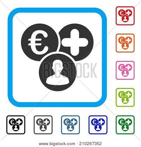 Euro Medical Expences icon. Flat gray pictogram symbol inside a light blue rounded rectangular frame. Black, gray, green, blue, red, orange color versions of Euro Medical Expences vector.