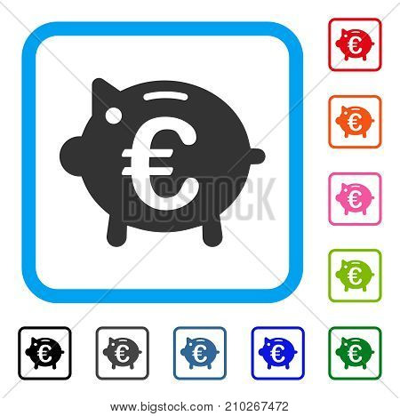 Euro Piggy Bank icon. Flat gray pictogram symbol inside a light blue rounded square. Black, gray, green, blue, red, orange color versions of Euro Piggy Bank vector. Designed for web and app UI.