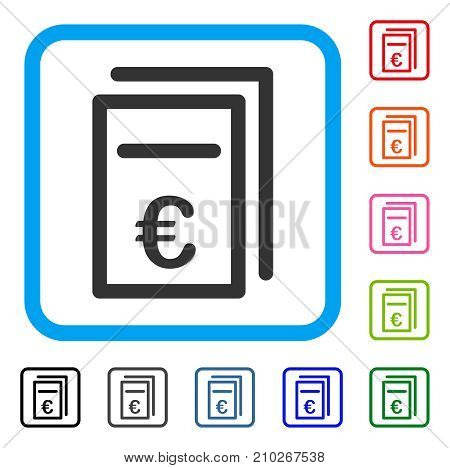Euro Pricing Documents icon. Flat grey pictogram symbol in a light blue rounded frame. Black, gray, green, blue, red, orange color additional versions of Euro Pricing Documents vector.