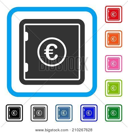 Euro Safe icon. Flat gray pictogram symbol in a light blue rounded rectangular frame. Black, gray, green, blue, red, orange color additional versions of Euro Safe vector.