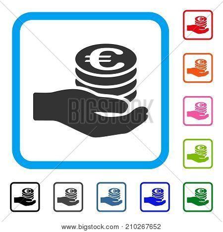 Euro Salary icon. Flat gray iconic symbol in a light blue rounded squared frame. Black, gray, green, blue, red, orange color variants of Euro Salary vector. Designed for web and application UI.