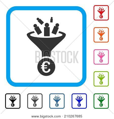Euro Sale Conversion icon. Flat gray pictogram symbol in a light blue rounded rectangle. Black, gray, green, blue, red, orange color variants of Euro Sale Conversion vector.