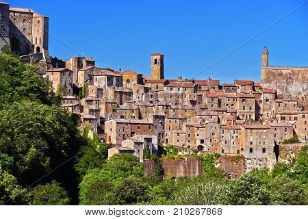 City Of Sorano In The Province Of Grosseto In Tuscany, Italy