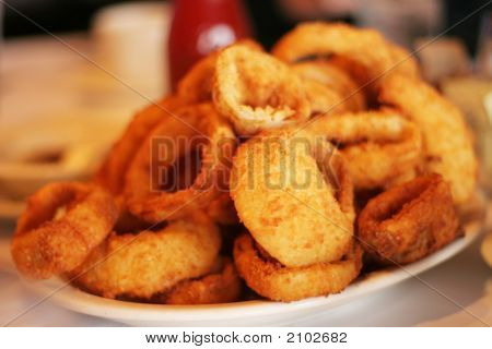 Plate Full Of Delicious Onion Rings