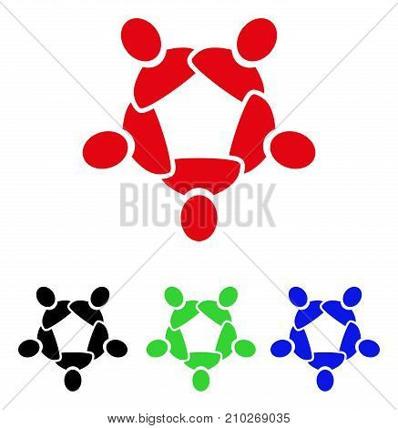 Collaboration icon. Vector illustration style is a flat iconic collaboration symbol with black, red, green, blue color variants. Designed for web and software interfaces.