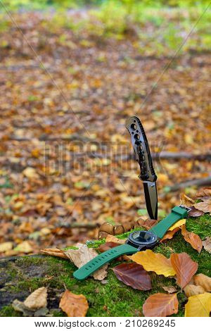Male set - knives and watches. Black knife and smart watch in autumn forrest