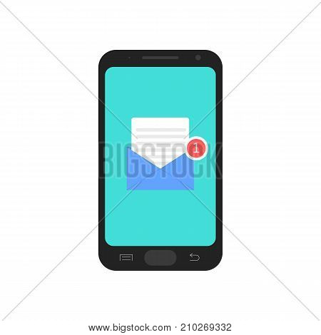 Smart phone with new message. Letter in mobile phone. Email. Vector illustration isolated on background.