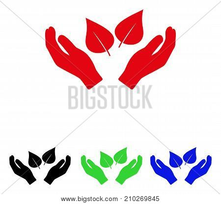 Flora Care Hands icon. Vector illustration style is a flat iconic flora care hands symbol with black, red, green, blue color versions. Designed for web and software interfaces.