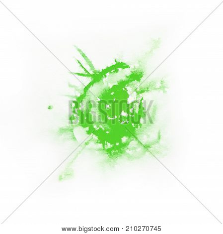 Watercolor Green color splash on white background