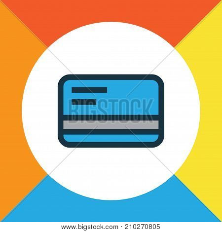 Premium Quality Isolated Bank Cash Element In Trendy Style.  Debit Card Colorful Outline Symbol.