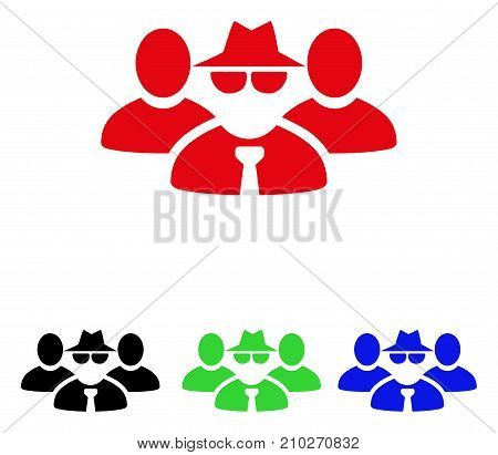 Mafia People Group icon. Vector illustration style is a flat iconic mafia people group symbol with black, red, green, blue color versions. Designed for web and software interfaces.