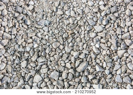 Gravel crushed stone background isolated texture macro