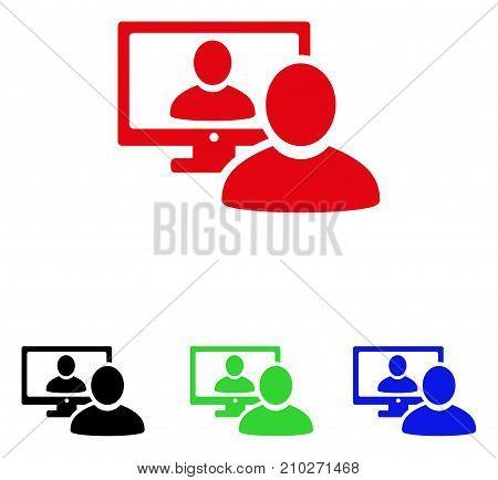 Online Video Chat icon. Vector illustration style is a flat iconic online video chat symbol with black, red, green, blue color versions. Designed for web and software interfaces.