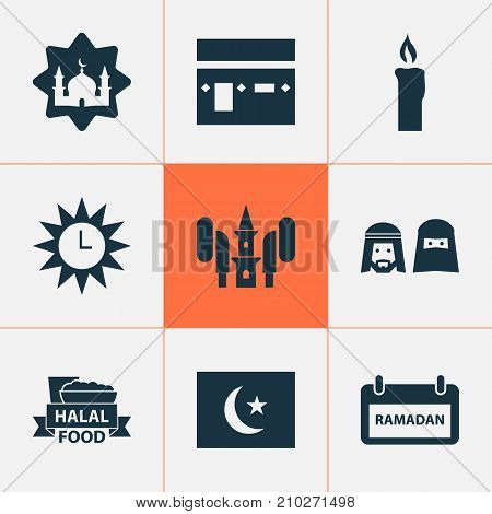 Holiday Icons Set. Collection Of Kareem, Food, Clock And Other Elements