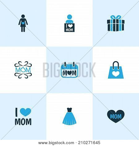 Mothers Day Colorful Icon Design Concept. Set Of 9 Such Elements As I Love Mom, Present And Mother's Day