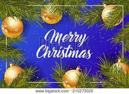 Merry Christmas lettering. Holiday background with falling snow and decorated balls. Handwritten text, calligraphy. Can be used for greeting cards, posters and leaflets