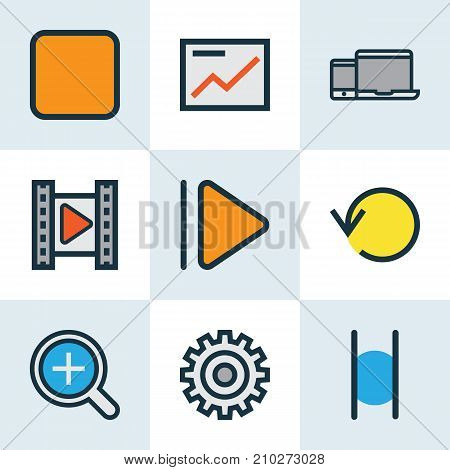 Music Colorful Outline Icons Set. Collection Of Gear, Chart, Refresh And Other Elements