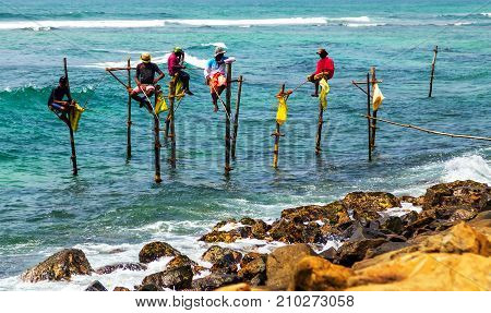 Fishermen In Indian Ocean, Sri Lanka.