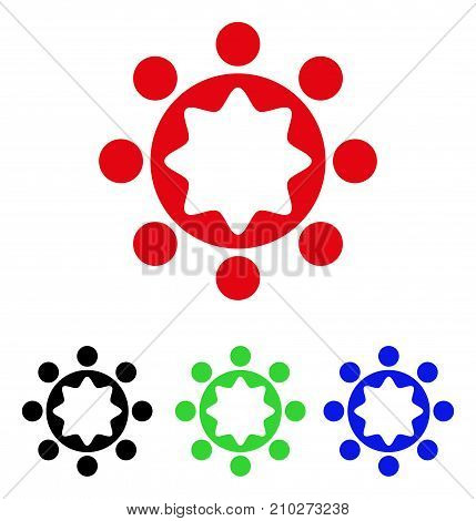 Union Corporation icon. Vector illustration style is a flat iconic union corporation symbol with black, red, green, blue color variants. Designed for web and software interfaces.