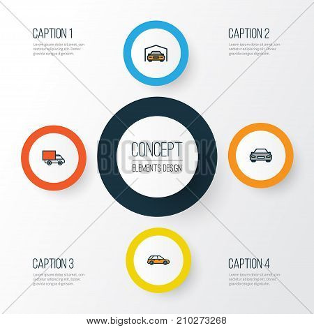 Auto Colorful Outline Icons Set. Collection Of Machine, Shed, Automobile And Other Elements