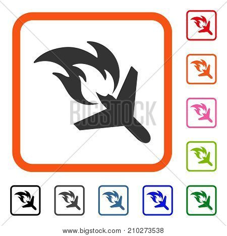 Airplane Fire Disaster icon. Flat gray pictogram symbol in an orange rounded squared frame. Black, gray, green, blue, red, orange color additional versions of Airplane Fire Disaster vector.