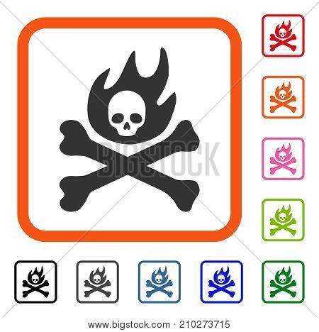 Bones Fire icon. Flat grey iconic symbol in an orange rounded rectangular frame. Black, gray, green, blue, red, orange color versions of Bones Fire vector. Designed for web and application UI.