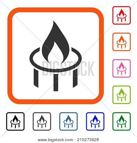 Burner Nozzle Flame icon. Flat grey iconic symbol inside an orange rounded rectangle. Black, gray, green, blue, red, orange color versions of Burner Nozzle Flame vector. poster