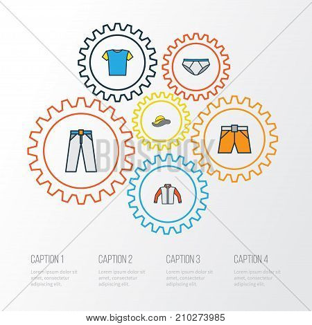 Clothes Colorful Outline Icons Set. Collection Of T-Shirt, Shorts, Panties And Other Elements