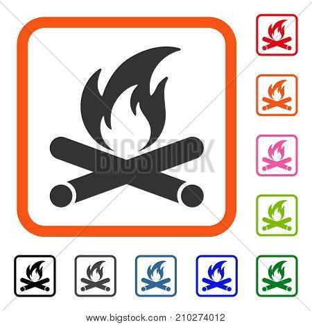 Campfire icon. Flat grey iconic symbol inside an orange rounded square. Black, gray, green, blue, red, orange color variants of Campfire vector. Designed for web and software UI.