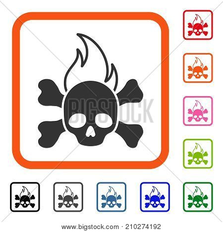Death Fire icon. Flat gray iconic symbol in an orange rounded squared frame. Black, gray, green, blue, red, orange color variants of Death Fire vector. Designed for web and app UI.