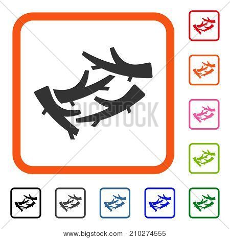 Firewood icon. Flat grey iconic symbol in an orange rounded squared frame. Black, gray, green, blue, red, orange color versions of Firewood vector. Designed for web and software UI.