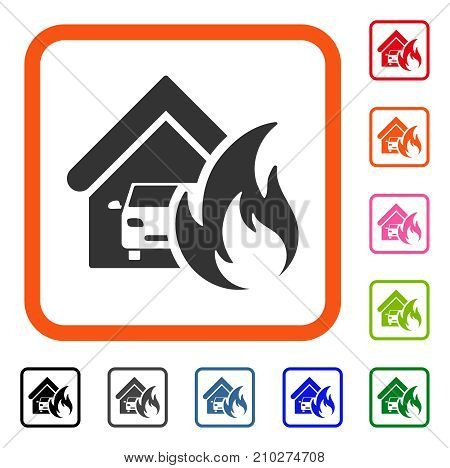 Garage Fire Disaster icon. Flat grey pictogram symbol inside an orange rounded frame. Black, gray, green, blue, red, orange color versions of Garage Fire Disaster vector.