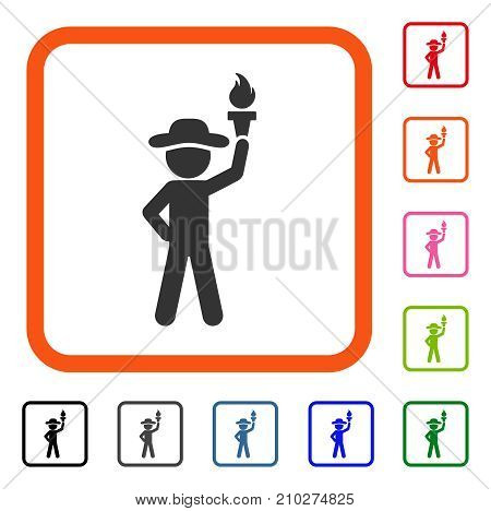 Gentleman With Freedom Torch icon. Flat gray iconic symbol in an orange rounded rectangular frame. Black, gray, green, blue, red, orange color variants of Gentleman With Freedom Torch vector.
