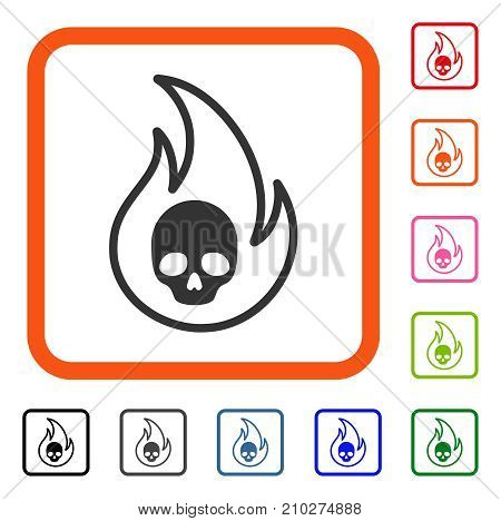 Hell Fire icon. Flat grey iconic symbol inside an orange rounded squared frame. Black, gray, green, blue, red, orange color variants of Hell Fire vector. Designed for web and application interfaces.